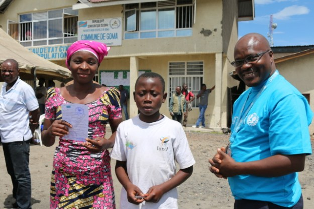 Héritier Bahati, 12, has received his birth certificate at the Goma municipality