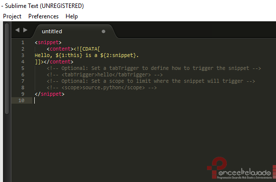 Crear Snippets Sublime Text 2