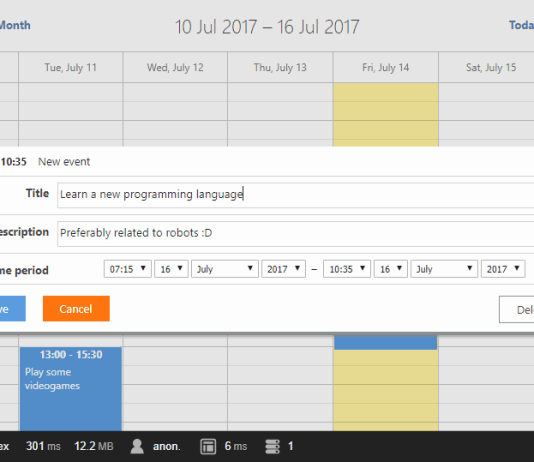 Calendario de eventos en Symfony 3 con dhtmlxScheduler
