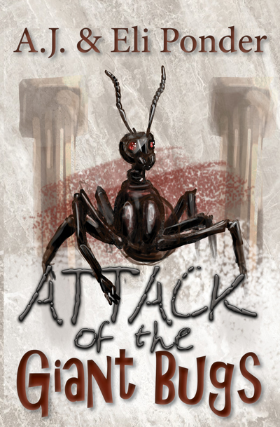Attack of the Giant Bugs, cover image: A giant ant in a museum. There is also a code in this book for those who choose to solve it.