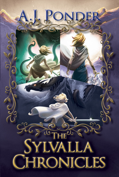 The Sylvalla Chronicles- epic fantasy, satire Sylvalla - warrior princess in three different poses facing dragon, cthulhu type monster and burning city.