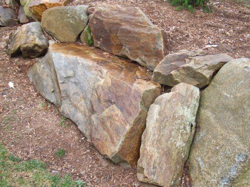 Custom Stonework, Built In Boulder Seat