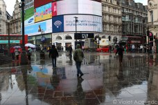 Piccadilly Circus post-rainfall. © Violet Acevedo