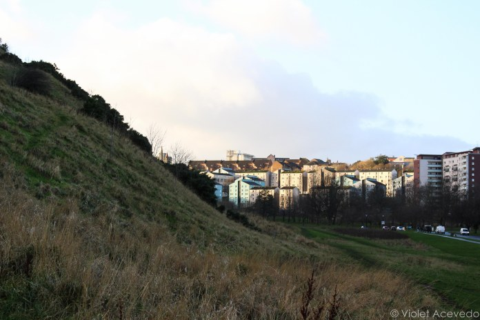 The cliffs in Holyrood Park tower over the nearby houses. © Violet Acevedo