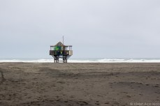 The lifeguard station stands empty this time of year. © Violet Acevedo