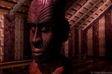Carvings decorate every wall in the marae. © Violet Acevedo