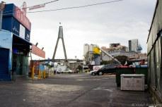 The Anzac bridge over the parking lot of the fish market. © Violet Acevedo