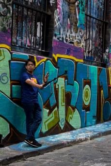 Selfie amongst the graffiti. © Violet Acevedo