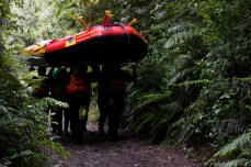 In the end, each group had to carry their raft to the car. © Violet Acevedo