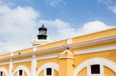 The main plaza is painted a vibrant yellow. © Violet Acevedo