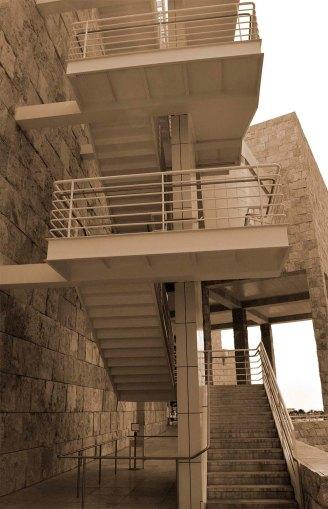 Getty Museum, California, sepia stairs