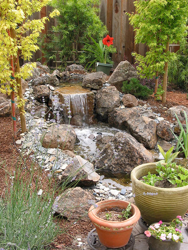 Morgan Hill Pondless Waterfall and Stream Contractor ... on Front Yard Waterfall Ideas id=96828