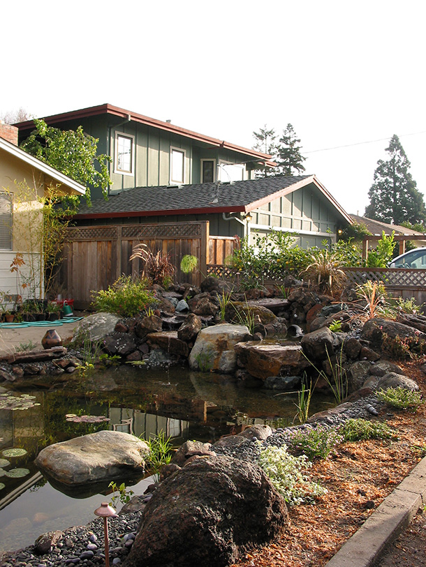 Palo Alto Front Yard Pond with Waterfall and Boulders ... on Front Yard Pond  id=23231