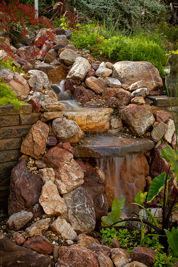 Saratoga Pondless Waterfall, Stream, Landscaping Contrator ... on Front Yard Waterfall Ideas id=79093