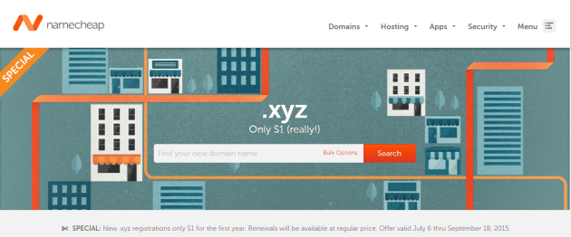 Promo Domain .xyz Namecheap $1
