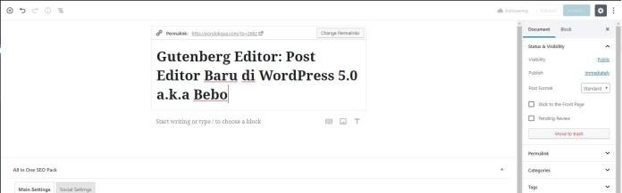 Gutenberg Editor di WordPress 5.0