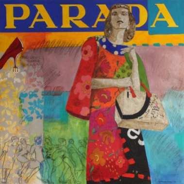 El diablo te viste de Parada | 150X150 - Técnica mixta sobre lienzo | Carmen Casanova | Exposición 'Glamourama' | Galería Herráiz | Madrid