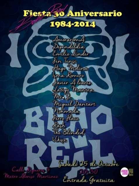 30º Aniversario Sala Búho Real   Madrid   25/10/2014   Cartel