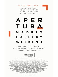 Apertura Madrid Gallery Weekend 2019 | 12-15/09/2019 | Cartel