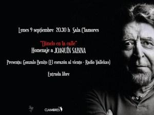 Dímelo en la calle | Homenaje a Joaquín Sabina | Sala Clamores | Chamberí | Madrid | 09/09/2019 | Cartel José Naveiras