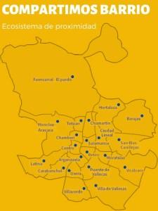 Compartimos Barrio | Ecosistema de proximidad | Ayuntamiento de Madrid | Mapa de distritos madrileños