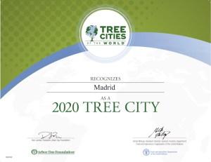 Madrid Ciudad Arbórea del Mundo 2020 | FAO y Arbor Day Foundation | Diploma de reconocimiento
