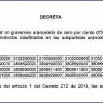 Decreto No 894.- Se modifica parcialmente el arancel de aduanas.