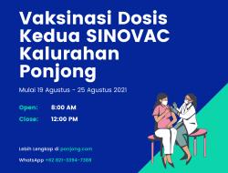Jadwal Lengkap Program Vaksinasi Usia 18+ Dosis Kedua SINOVAC Kalurahan Ponjong 2021