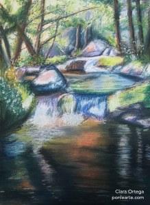 Cascada de rio pintada a pastel. ponlearte.com