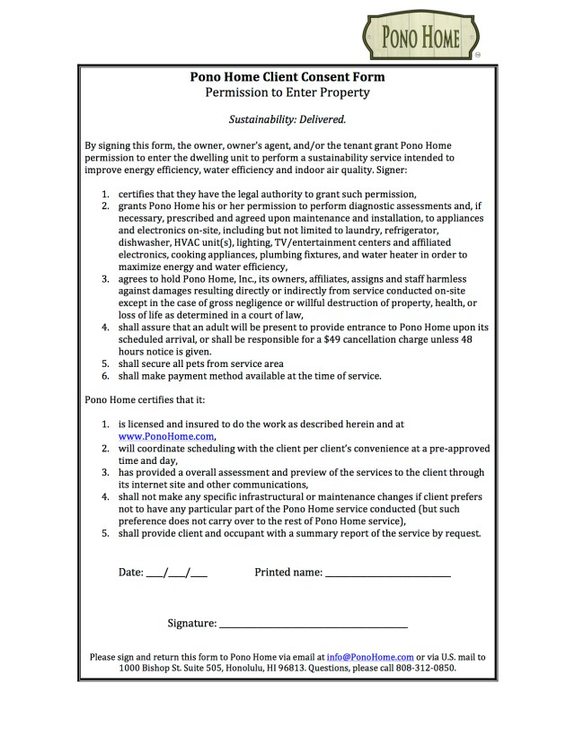 Pono Home Client Consent Form--Permission to Enter Property
