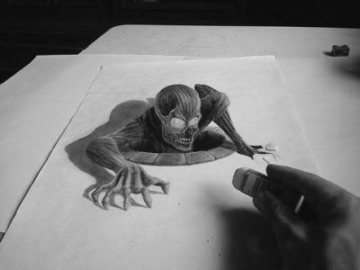 gambar 3d spiderman atau zombi di atas kertas