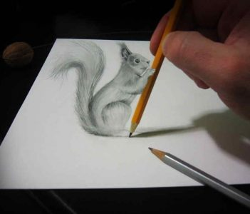 gambar pensil 3d di kertas