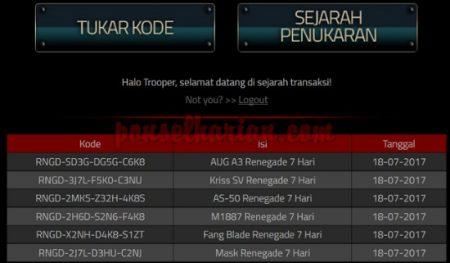 kode redeem senjata gratis PB juli 2017