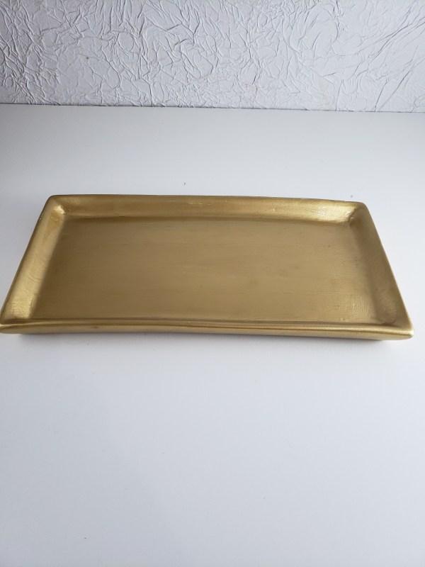 Bandeja cerâmica retangular cor Dourado