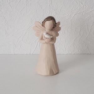 kit Anjos Batizado Resina Bege