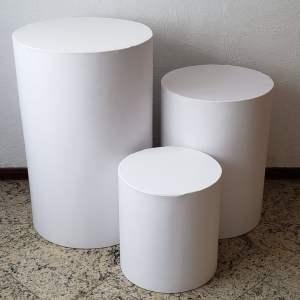 Trio mesas cilindro com capa cor Branco