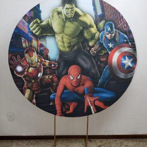 Suporte Redondo com Tecido Sublimado Super Heróis