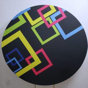 Tecido Redondo Sublimado Neon Geométrico