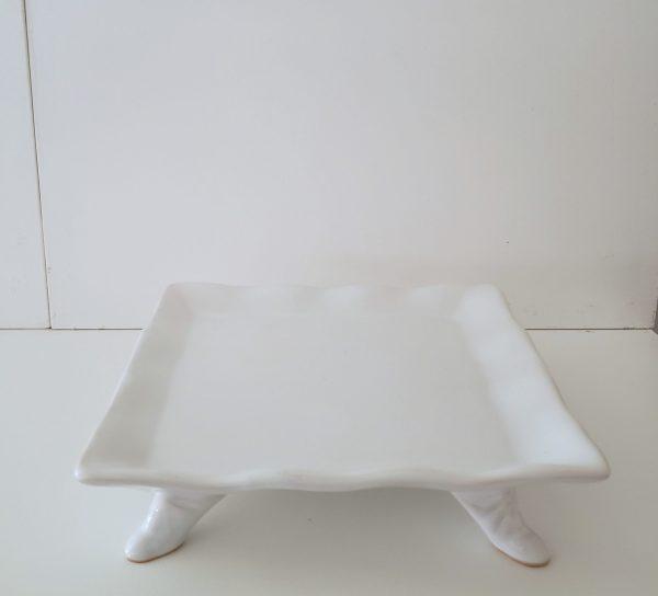 Bandeja Quadrada Babado Cerâmica Branco