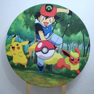 Painel Redondo com Tecido Sublimado Pokemon