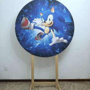 Painel Redondo com Tecido Sublimado Sonic