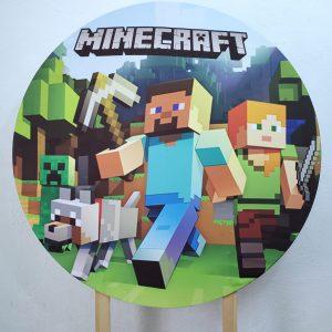 Painel Redondo com Tecido Sublimado Minecraft