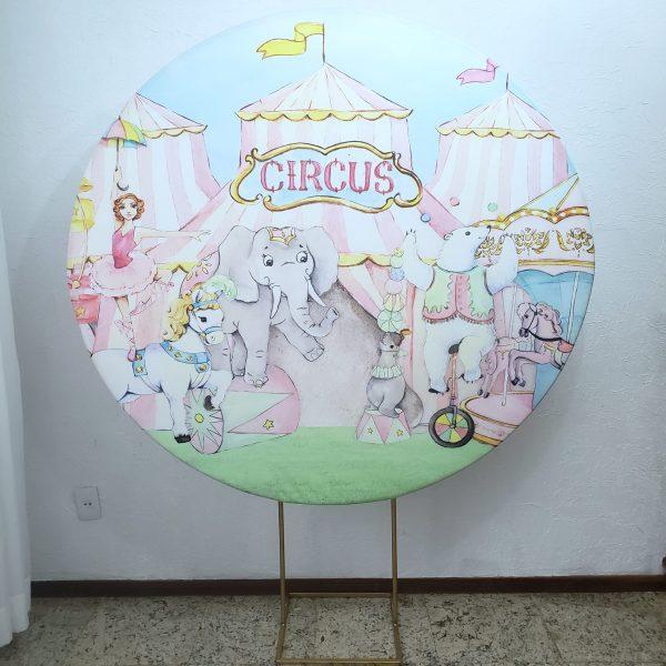 Suporte Redondo com Tecido Sublimado Circo Rosa
