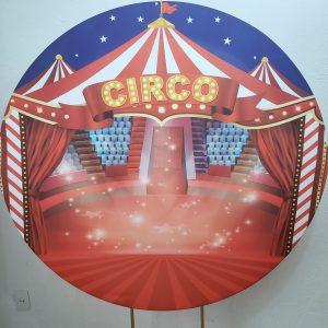 Suporte Redondo com Tecido Sublimado Circo