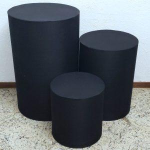 Capas para Trio mesas cilindro cor Preto