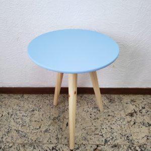 Mesa Redonda Pé Palito P com Capa Azul