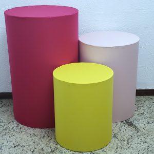 Capas para Trio mesas cilindro cores Pink/Rosa/Amarelo