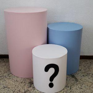 Capas para Trio mesas cilindro cores Chá Revelação