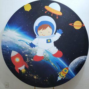 Suporte Redondo com Tecido Sublimado Astronauta