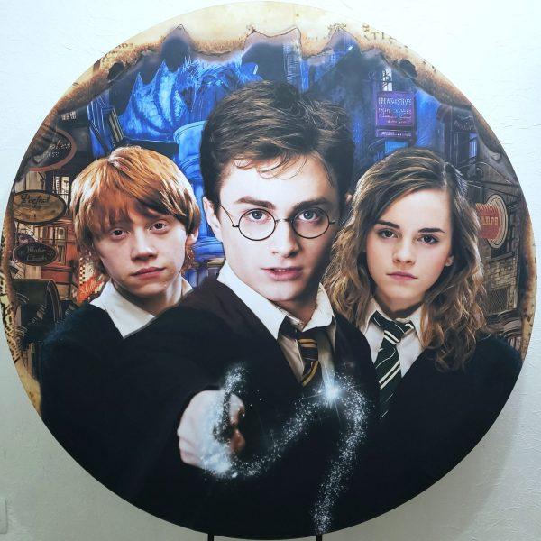 Suporte Redondo com Tecido Harry Potter